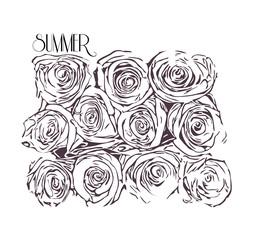 Monochrome illustration of roses