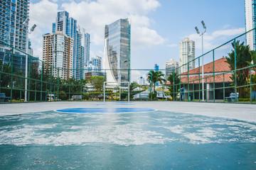 basketball court, soccer field - outdoor sport in city