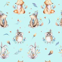 Pépinière d& 39 animaux de bébé modèle sans couture isolé avec des bannies. Aquarelle boho mignon bébé renard, cerf animal lapin des bois et ours illustration isolée pour les enfants. Image de forêt de lapin