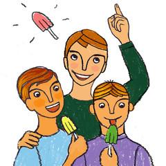 Illustration of boys eating popsicles