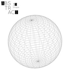Abstract 3D wireframe geometric shape isolated on white background. 3D sphere