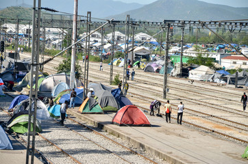 Idomeni, Greece, April 15, 2016 - Hundreds of migrants and refugees are camping at the Greek-Macedonian border. The camp for refugees. The European refugee and migration crisis