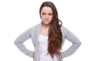 serious angry woman looking at camera