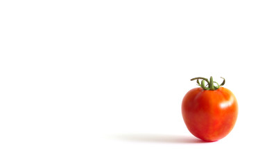 Tomato on right down conner frame with white background