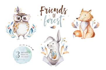Cute watercolor bohemian baby cartoon rabbit and bear animal for kindergarten, woodland deer, fox and owl nursery isolated bunny forest illustration for children. Bunnies animals.
