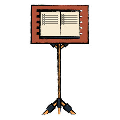 music stand for scores over white background, colorful design vector illustration