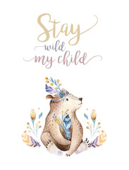 Cute bohemian baby bear animal for kindergarten, woodland nursery isolated decoration forest illustration for children forest animals pattern. Watercolor hand drawn boho set