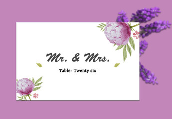 Table Place Card Layout with Pink Wildflowers