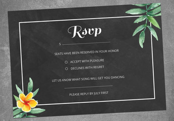 RSVP Card Layout with Tropical Flowers
