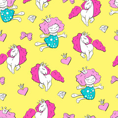 Lovely princesses and unicorns with hearts with wings and bows, seamless pattern.