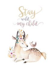 Cute bohemian baby cartoon deer animal for kindergarten, woodland nursery isolated decoration forest illustration for children forest animals pattern. Watercolor hand drawn boho set