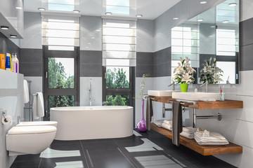 Modernes Badezimmer in weiß und schwarz mit Badewanne, WC, Bidet und zwei Waschbecken mit einem großen Spiegel