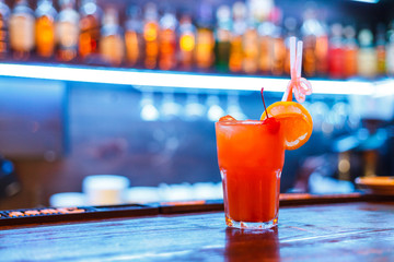 Fresh alcohol coctail on bar counter