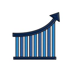 bar graph arrow growth financial business statistic  vector illustration