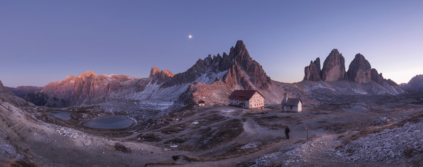 Scenic view of Tre Cime Di Lavaredo against sky at dusk