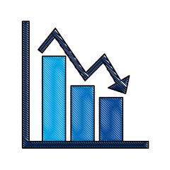 business financial bar graph chart diagram crisis problem  vector illustration