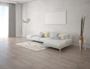 Mock up a bright living room with a stylish corner sofa and hipster background.
