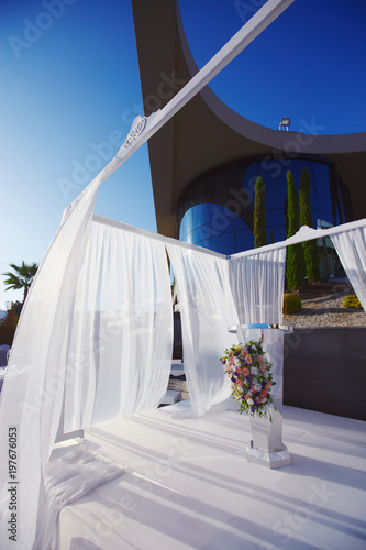Arch For The Wedding Ceremony In Beautiful Gazebo Decorated With