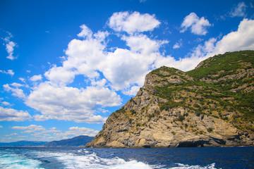 Rocky ligurian coast at the Mediterranean Sea near Portofino, Italy
