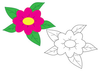Flower cartoon. Coloring page. Game for children.