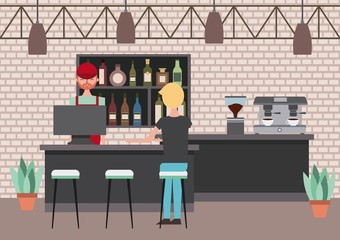 barista beind counter customer service coffee shop vector illustration