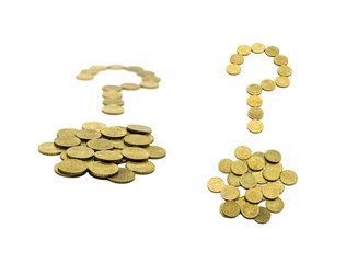 question mark composed of 10 EURO coins