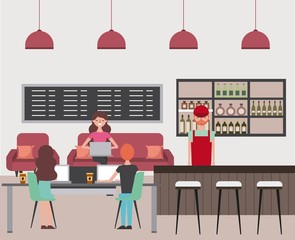 coffee shop barista and people using laptops sitting on sofa and chairs vector illustration