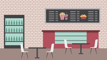 cinema bar counter cooler table chairs menu board brick wall vector illustration