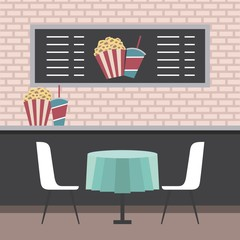 cinema theater counter table chairs popcorn and sodas vector illustration