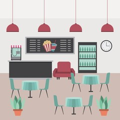 interior scene cineme theater counter machine popcorn sofa cooler tables chairs and plants vector illustration