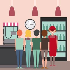 cinema seller and people viewed back shop theater with cooler machine popcorn vector illustration