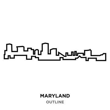 maryland outline on white background