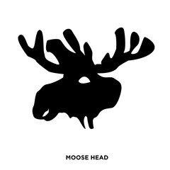 moose head silhouette on white background, in black