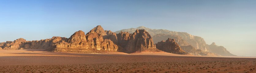 panoramic view to dawn in sand desert in Jordan