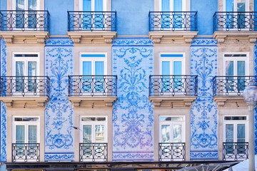 Traditional historic facade in Porto decorated with blue tiles, Portugal Wall mural