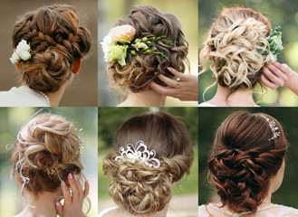 Foto auf AluDibond Friseur Collection of wedding hairstyles