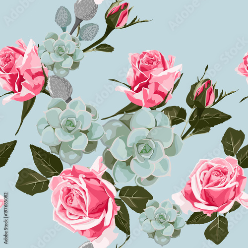 Watercolor Succulents And Roses Seamless Pattern Vintage Wallpaper With Pink Rose Hip On