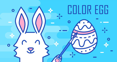 Happy Easter greeting card with rabbit, egg and brush on blue background. Thin line flat design. Vector banner.