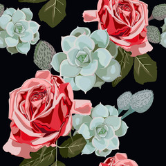 Watercolor succulents and red roses seamless pattern. Vintage wallpaper with rose hip and succulents on black background. Floral texture for design, textile and background.