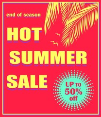 Hot red poster with hot summer sale lettering, offer mint color label, palm leaves  and seagull. Art deco style. Vector background for banner, flyer, tag, card, brochure