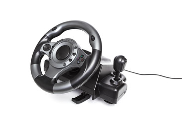 Computer gaming steering wheel. Game played on the computer