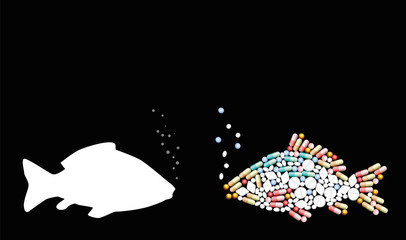 Fish, antibiotics, contaminants. Pills that shape a fish. Symbol for animal contamination, food and healthcare issues, medicine, pharmacy, antibiotics and diet - vector on black.