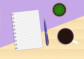 Wooden table with a purple background with a notebook, pen, cup of coffee and cactus. Top view