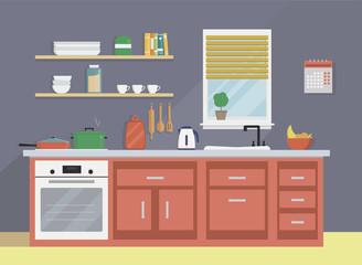 Modern kitchen interior with appliances, cooking utensils, sink, kettle, stove, dishes and furniture. Home art. Flat style vector illustration.