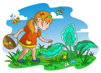 Easter Egg Hunt. Little Girl Looking for Eggs, Color Vector Illustration
