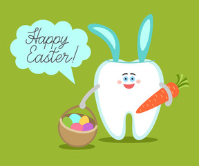 Cartoon tooth with bunny ears holds a carrot and basket with eggs. Greeting card from dentistry. Happy Easter! Dental illustration on green background.