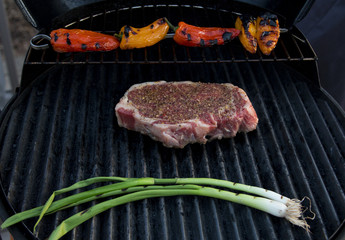 grilled steak, peppers and onions