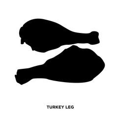turkey leg silhouette on white background, in black