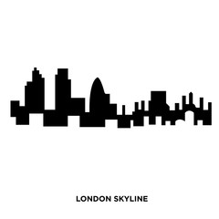 london skyline silhouette on white background, in black