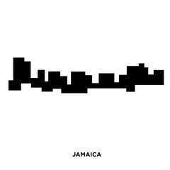 jamaica silhouette on white background, in black